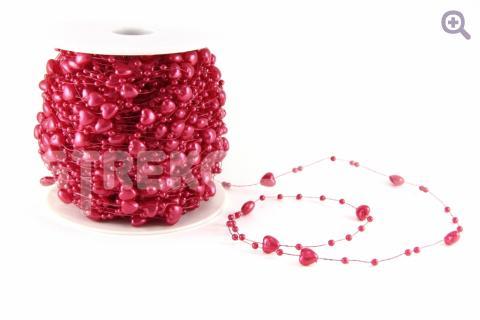Бусины на леске сердечки 6мм, цвет: красный