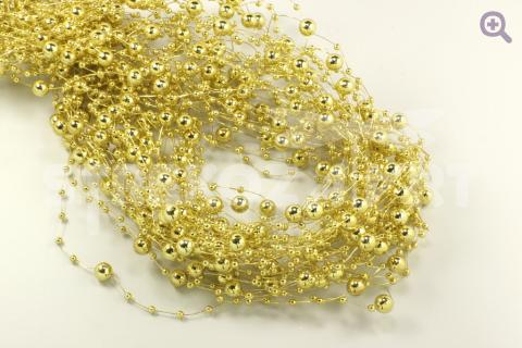 Бусины на леске хром 3,8мм, длина 1,2м, цвет: золото