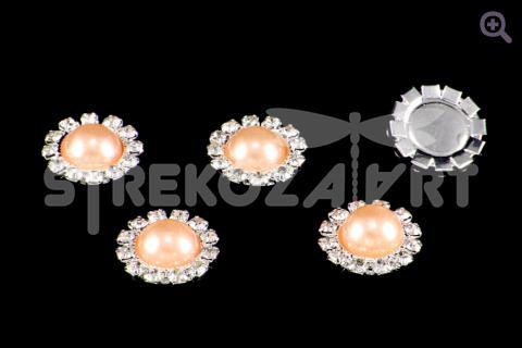 Кабошон Жемчужный 16мм, цвет: персиковый