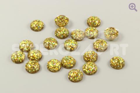 """Кабошон """"Звездное мерцание"""" 12мм, цвет: золото"""
