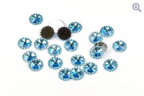 """Стразы """"Морские камушки"""", 12мм, 10шт, цвет: голубой"""