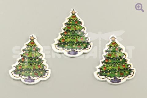 Пуговица Новогодняя елочка 29*32мм, дерево (украшенная)