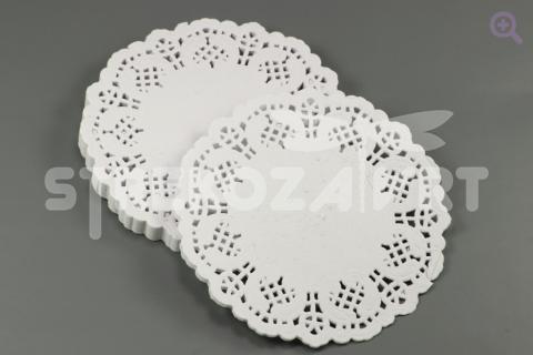 Салфетка ажурная, круглая, 10см, цвет: белый