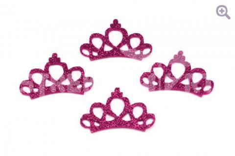 """Патч с блестками """"Корона принцессы"""" 4,4*2,8см, цвет: фукси"""
