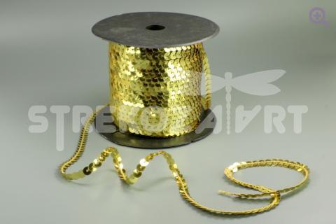 Пайетки на нити 6мм, цвет: золото