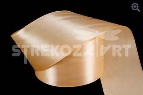 Лента атласная 25мм, цвет: нежный персиковый