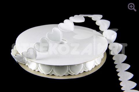 Лента декоративная 15мм, сердце, цвет: белый