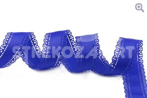 """Лента декоративная """"Ажур"""" 28мм, цвет: синий, перфорация по краям"""