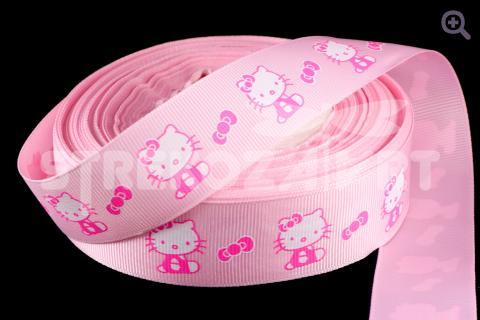 Лента репсовая с рисунком 25мм, рисунок: китти, цвет: розовый