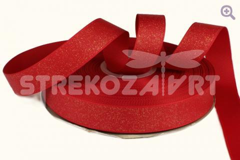 Лента репсовая с глиттером 22мм, цвет: красный