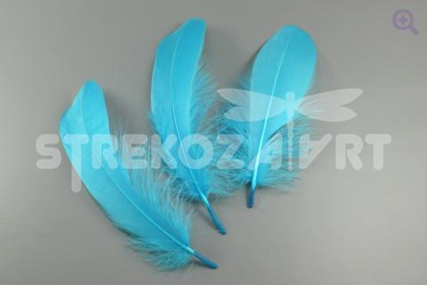 Перо гусиное (прямое) 16-20см, цвет: голубой