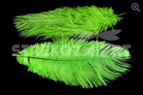Перо страуса 12-15см, цвет: зеленый