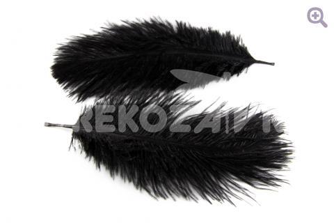 Перо страуса 12-15см, цвет: черный
