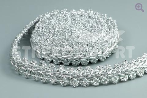 Тесьма люрекс 8мм, цвет: серебро