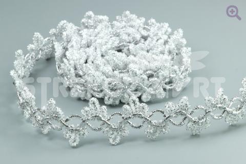 Тесьма люрекс 22мм, цвет: серебро