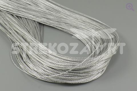 Шнур декоративный (круглый), 1мм, цвет: серебро