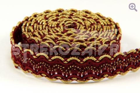 Тесьма декоративная 16мм, цвет: бордовый/золото