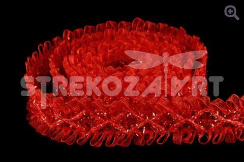 Тесьма с бантиком капроновая 25мм, цвет: красный