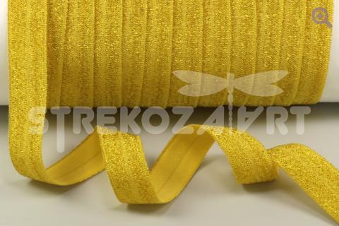 Тесьма эластичная металлик, 15мм, цвет: золото