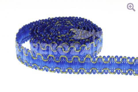 Тесьма отделочная Зиг-заг 12мм, цвет: синий/золото