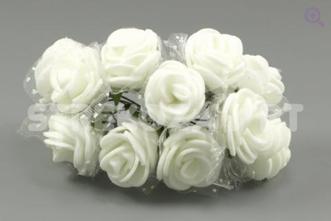Букетик роз из фоамирана (цветок 2,5см, 12 цветков, фатин), цвет: белый