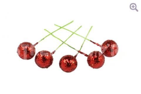 Ягоды на проволоке с блестками 12мм, цвет: красный, 5шт