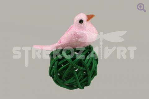 Птичка блеск, 3см, цвет: розовый