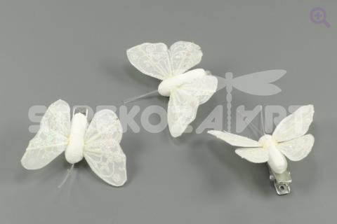 Бабочка на прищепке 4,5*4см, цвет: белый