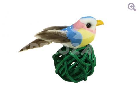 Птичка 2,5*6,5см, цвет: голубой/ розовый