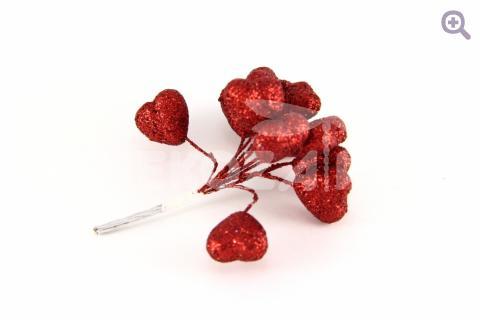 Сердце на проволоке d-2.5см, h-8.5см,(12шт в букете) цвет: красный