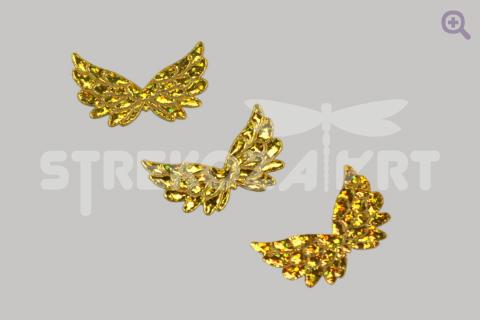 """Патч двухсторонний """"Крылья ангела"""" 35*23*1мм, цвет: золото"""