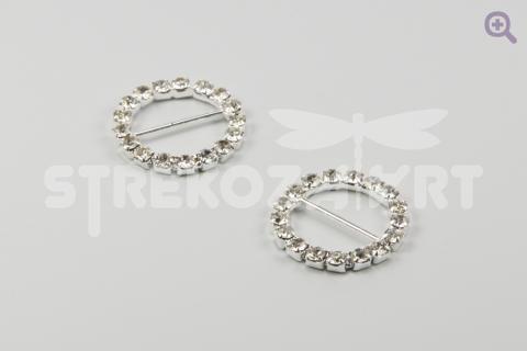 Пряжка со стразами круглая Tesoro Cristal 18мм,  ХН631,02, цвет: серебро