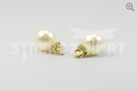 Подвеска с жемчужиной и стразами Tesoro Cristal 9мм,  ХН641,01, цвет: золото