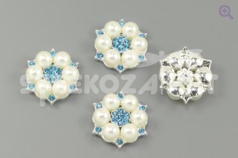 """Украшение """"Жемчужный цветок"""", 27мм, цвет: серебро (голубая серединка)"""