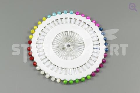 Булавка с бусинкой(3мм), цвет: микс, 40шт
