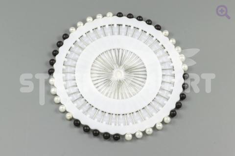 Булавка с бусинкой(3мм), цвет: чёрно-белый, 40шт