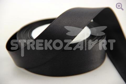Лента атласная 6мм, цвет: черный