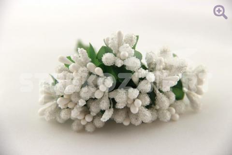 Букетик декоративный, цвет:белый