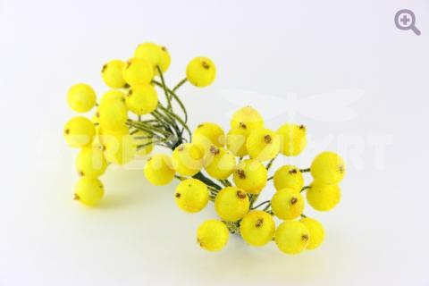 Ягоды сахарные 12мм (2 ягоды на веточке), цвет: желтый