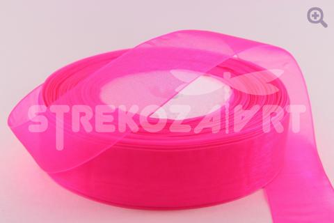 Лента органза однотонная 10мм, цвет: ярко-розовый