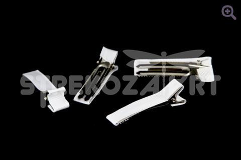 Заколка-основа (металл-ткань) 5см цвет: белый