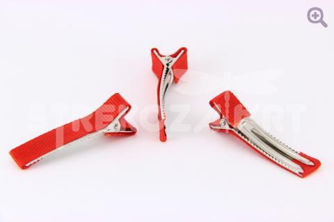 Заколка-основа (металл-ткань) 5см цвет: красный