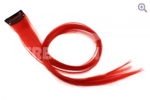 Пряди на заколке 50см, цвет: красный