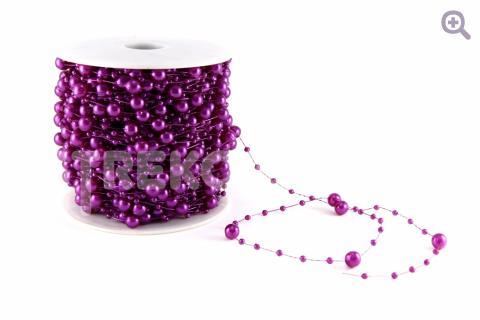 Бусины на леске 3/7мм, цвет: фиолетовый