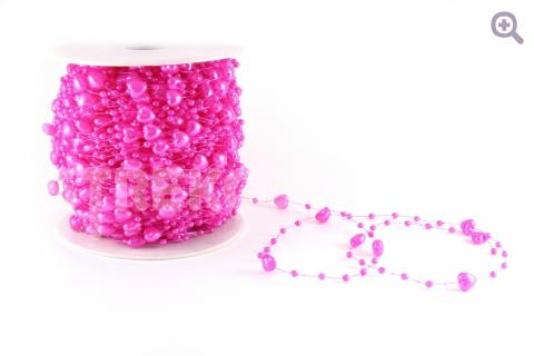 Бусины на леске сердечки 6мм, цвет: ярко-розовый
