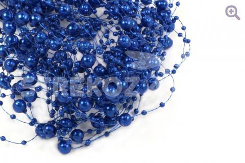 Бусины на леске 3/8мм, длина 1,35м, цвет: синий