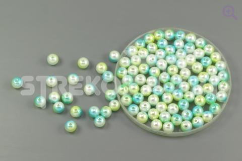Бусины под жемчуг градиент 6мм, цвет: бирюзовый/зеленый/жемчужный, 5г