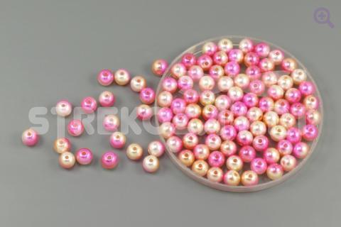 Бусины под жемчуг градиент 8мм, цвет: розовый/желтый/жемчужный, 5г