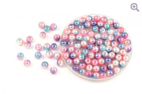 Бусины под жемчуг градиент 8мм, цвет: розовый/голубой/сиреневый/жемчужный, 5г