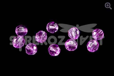 Бусины акриловые граненые  6мм, цвет: розово-сиреневый, 10шт